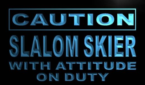 Caution Slalom Skier on Duty Neon Light Sign